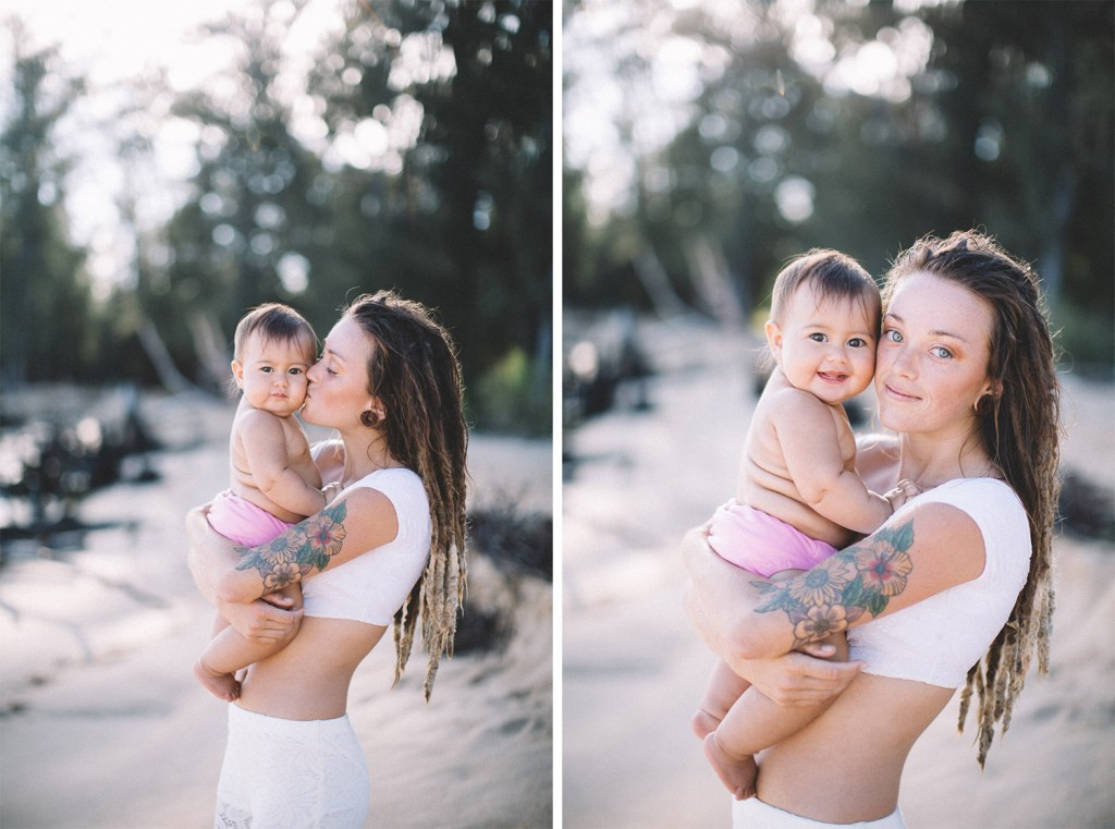 beautiful mom with dreadlocks and adorable baby. family photography on Maui