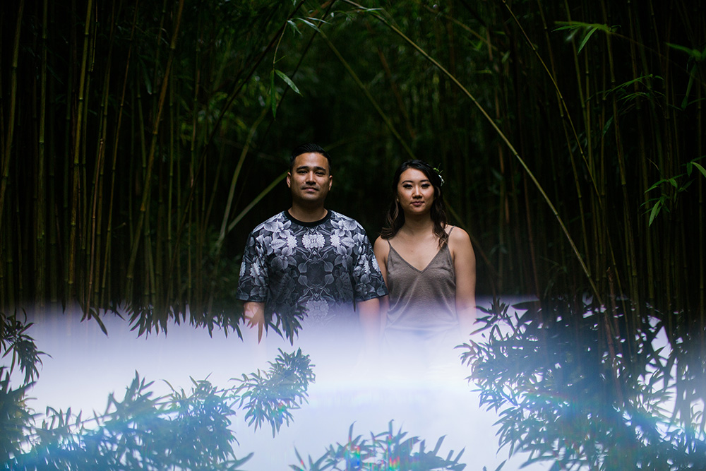 waterfall engagement photography in hawaii, in the jungles of maui.