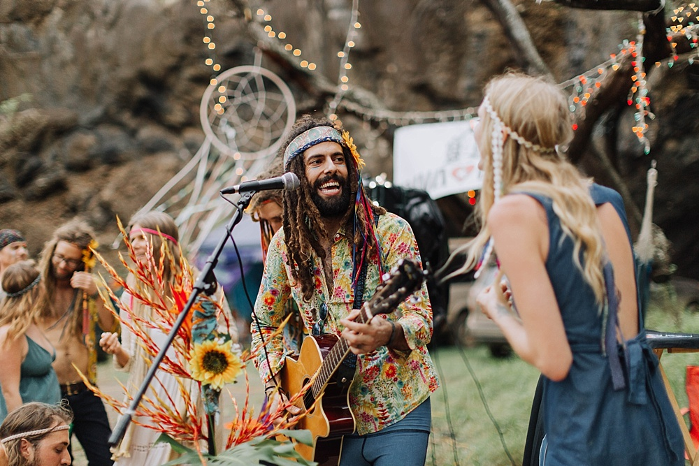 hippie wedding in hawaii - gypsy halos of the rainbow hippie village, Maui.