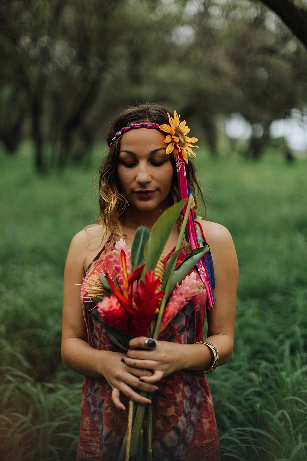gypsy halos - rainbow hippie village wedding in maui, hawaii.