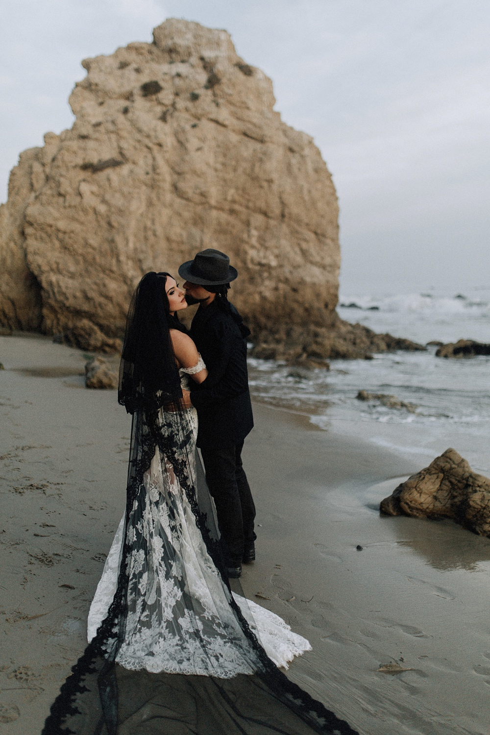 beautiful couple at el matador beach