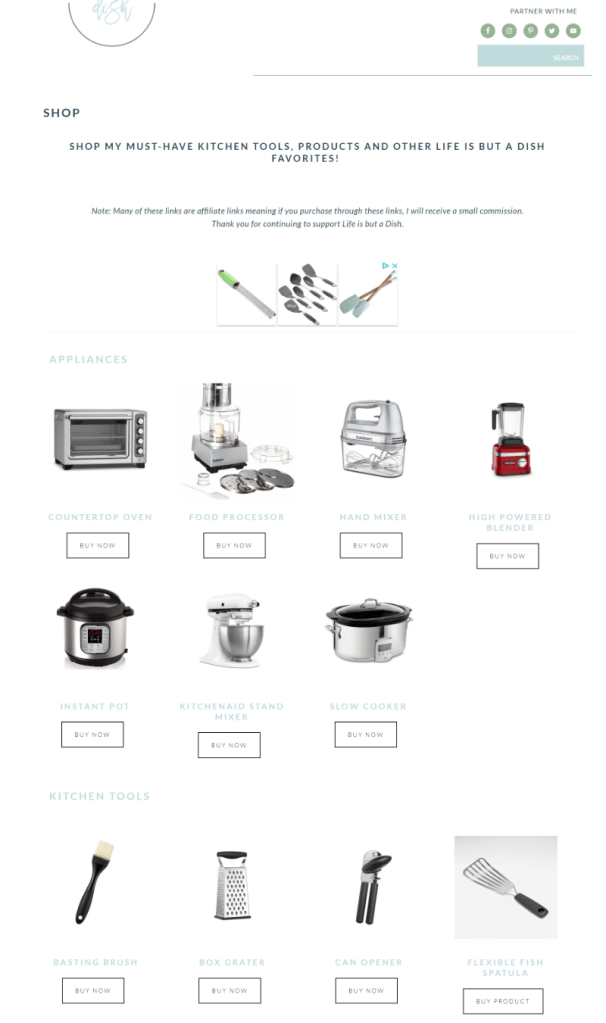 Shop page using WooCommerce for Life is but a Dish shop page.