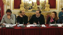 De izquierda a derecha; José María González, Antonio Romero, Hugo Palomares y Lorena Garrón, durante un pleno de Diputación
