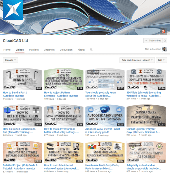 Visit the Cloud CAD Youtube Channel