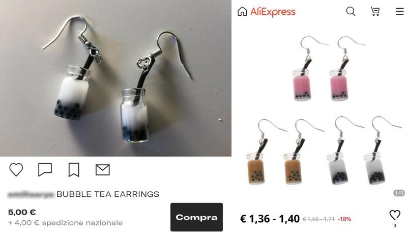 oggetto in vendita su Depop e su AliExpress