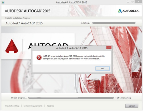 net 4 5 is not installed autocad 2019