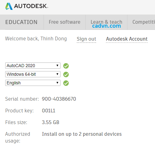 Serial Number và Product key Autocad 2020