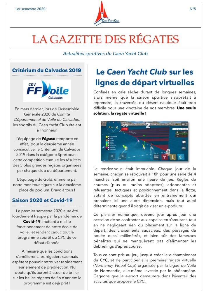Gazette des régates du Caen Yacht Club
