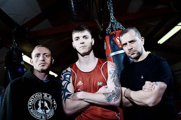 Ricky Rowlands (centre) with Jamie Arthur (left) and (right)Matt Jones, associate of 3B Promotions