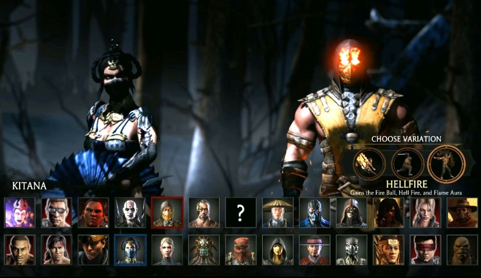 mkx character select screen
