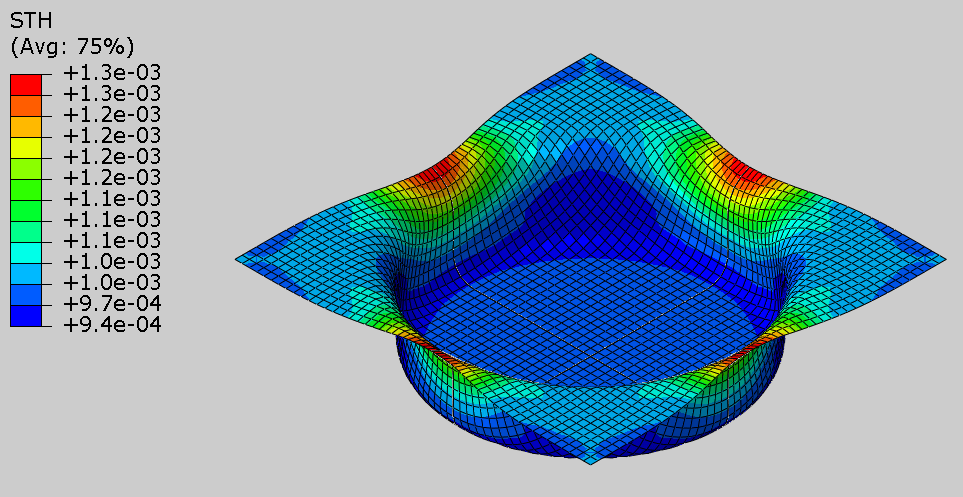 thickness plot of the blank