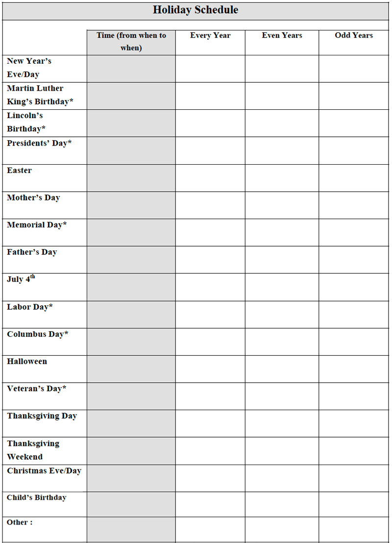Joint Custody Calendar Template