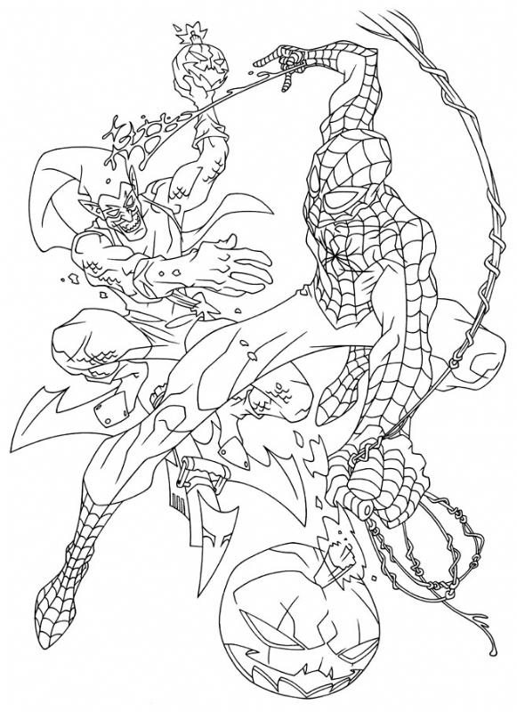 spiderman vs green goblin (lineart)rob haynes in