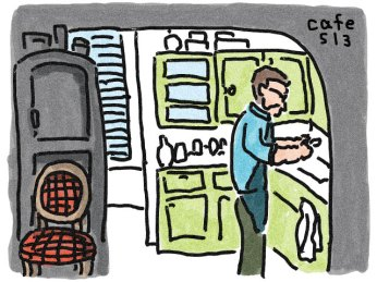キッチンの男性