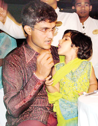 Ganguly with daughter Sana