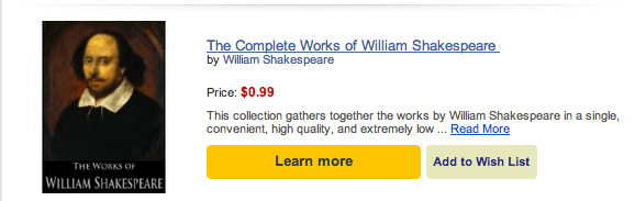 Shakespeare's on the Discount Shelf