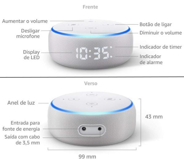 Amazon Echo Dot 3ª geração com relógio