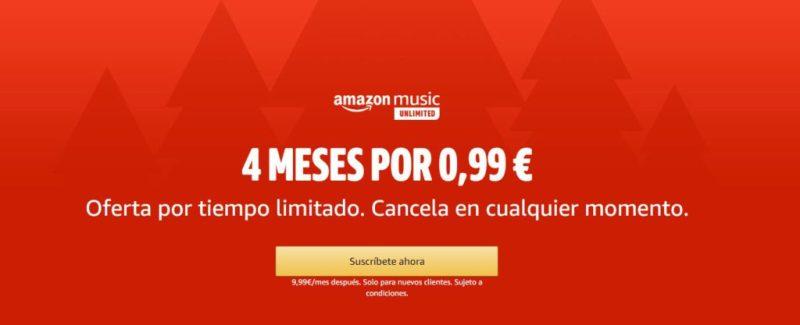 Amazon Music - Libros gratis y música cuatro meses por solo 0'99 euros en Amazon Prime