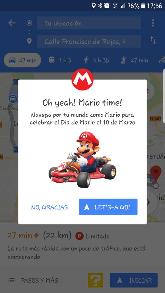 ¿Quieres jugar a Mario Kart en Google Maps?