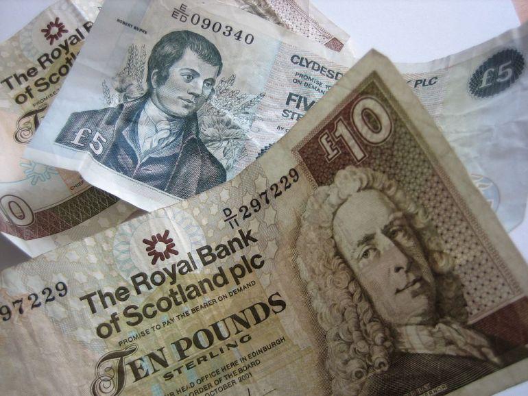 Billetes emitidos por el banco de Escocia