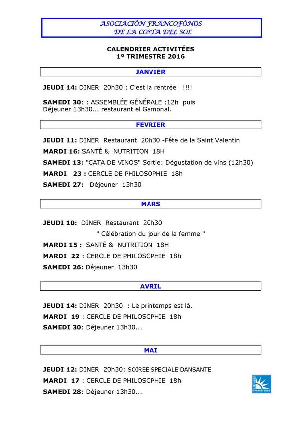calendrier Act. Francophones ...mai 16