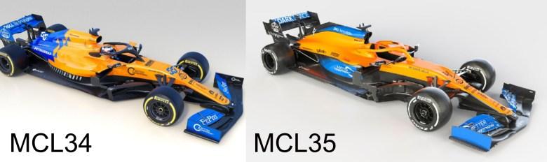 Différences entre la voiture de l'année dernière (MCL34) et celle de cette année (MCL35)