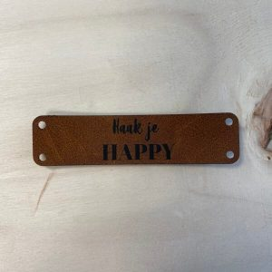 Kunstlederen label Haak je happy