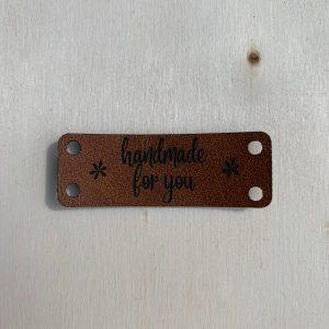 Kunstlederen label Handmade for you