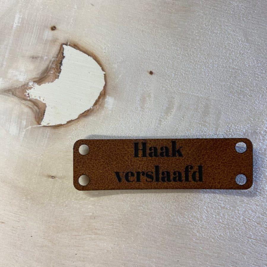 Kunstlederen label Haakverslaafd