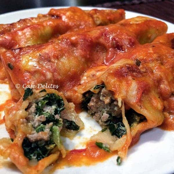 Turkey, Spinach and Ricotta Cannelloni with a Creamy Tomato Sauce
