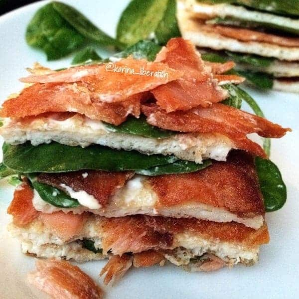 Crispy Smoked Salmon, Spinach and Cream Cheese Egg Stack
