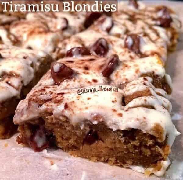 Tiramisu Chickpea Blondies