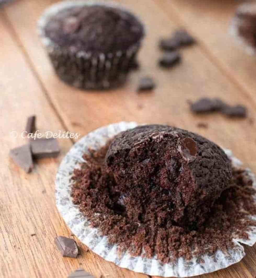 Double Chocolate Chunk Muffins - Cafe Delites-16