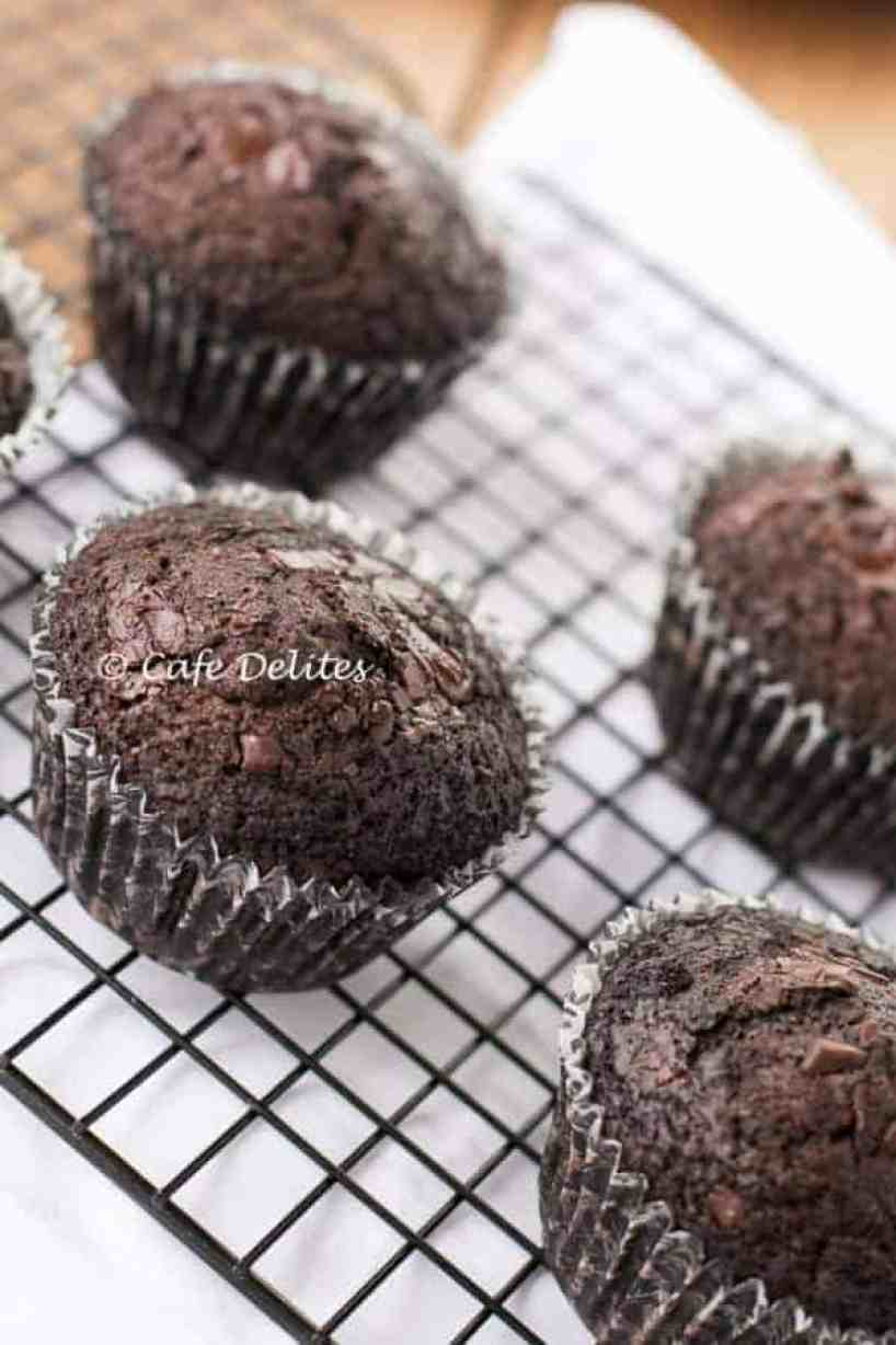 Double Chocolate Chunk Muffins - Cafe Delites-5