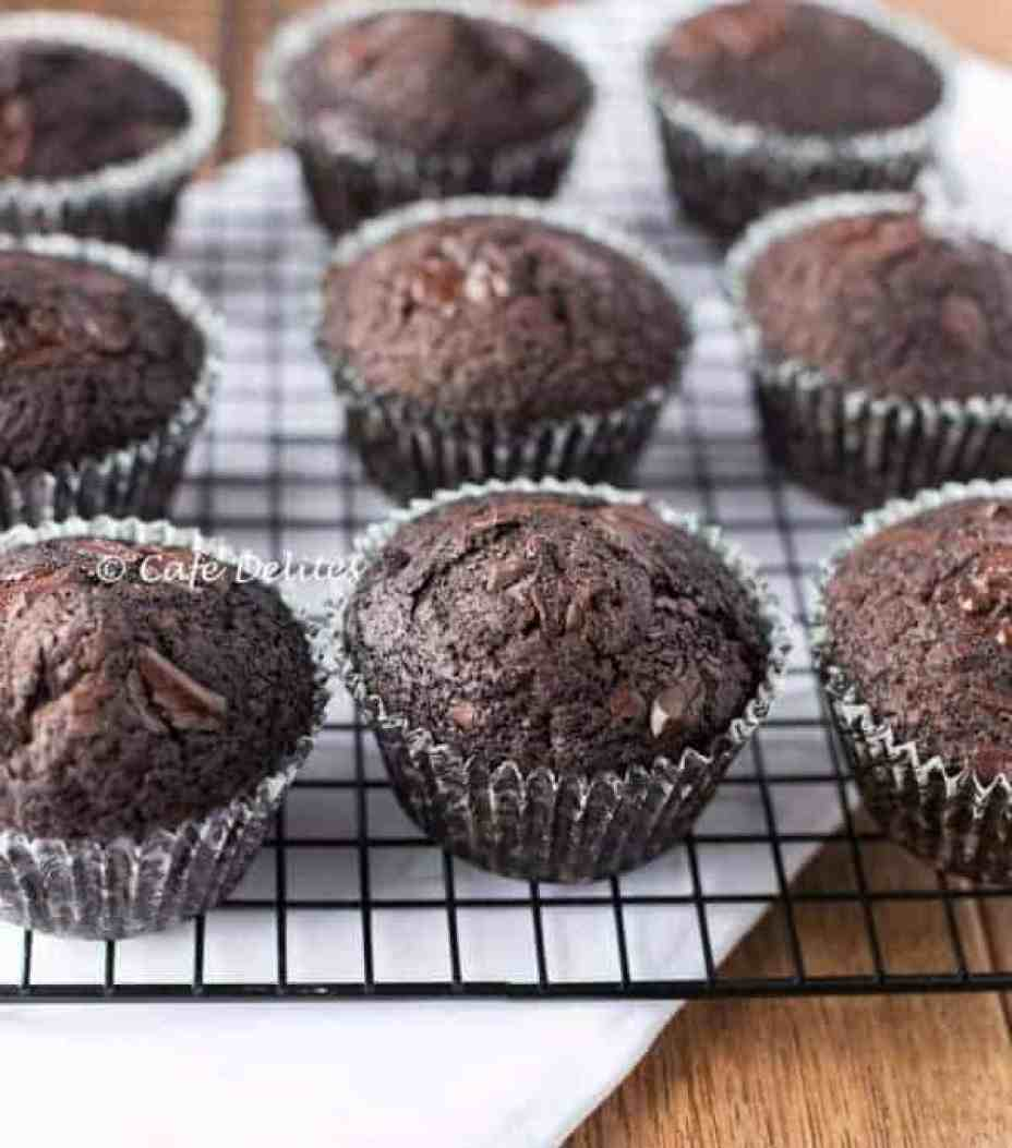 Double Chocolate Chunk Muffins - Cafe Delites-9