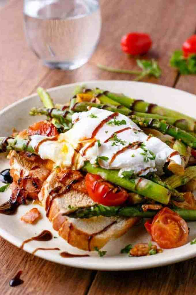 Pan Fried Asparagus with Poached Eggs Bruschetta - Cafe Delites