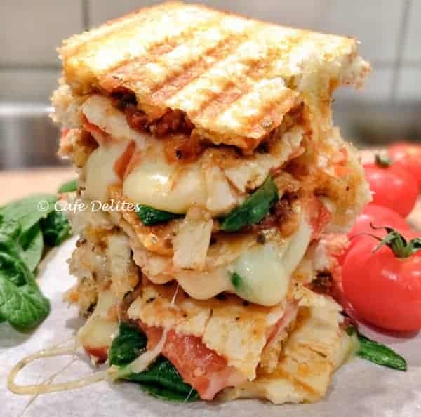 Turkey and Spinach Mediterranean Grilled Cheese