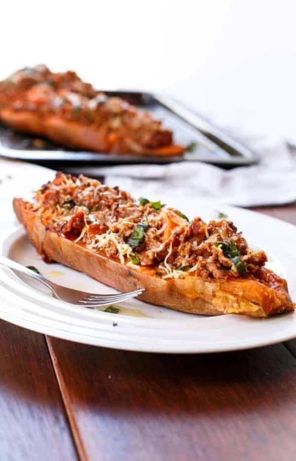 Cheesy Bacon Bolognese Stuffed Sweet Potatoes