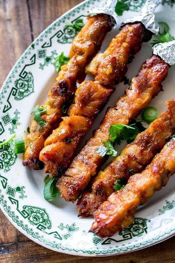 Skinny Satay Turkey Skewers http://cafedelites.com