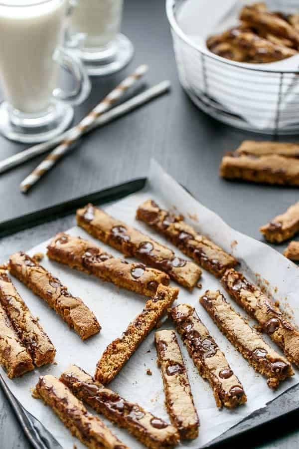 Low Fat Chocolate Chip Cookie Sticks | http://cafedelites.com