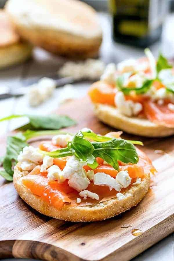 Goats Cheese and Smoked Salmon English Muffin