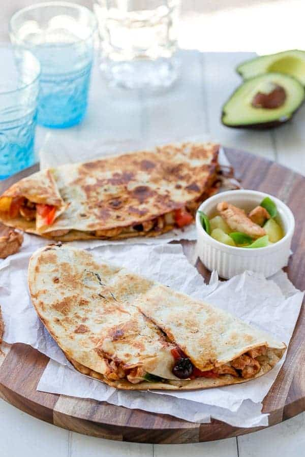 Bbq Chicken Pizzadilla https://cafedelites.com