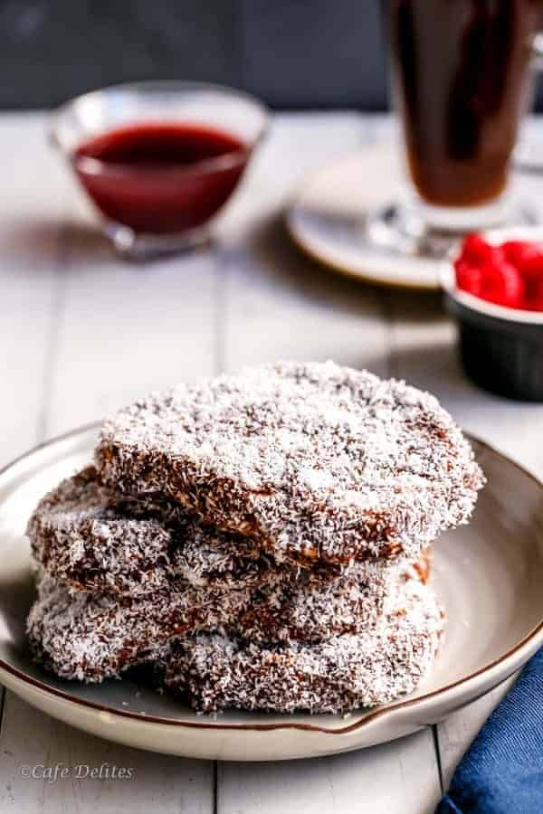 Lamington French Toast With Raspberry Jam Syrup