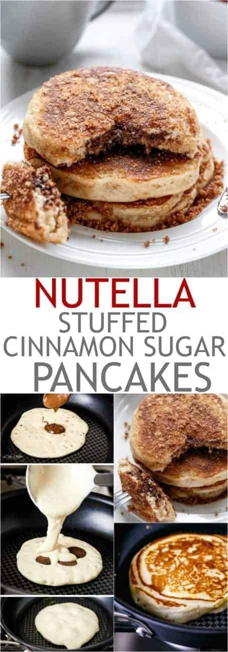 Nutella Stuffed Cinnamon Sugar Donut Pancakes | http://cafedelites.com