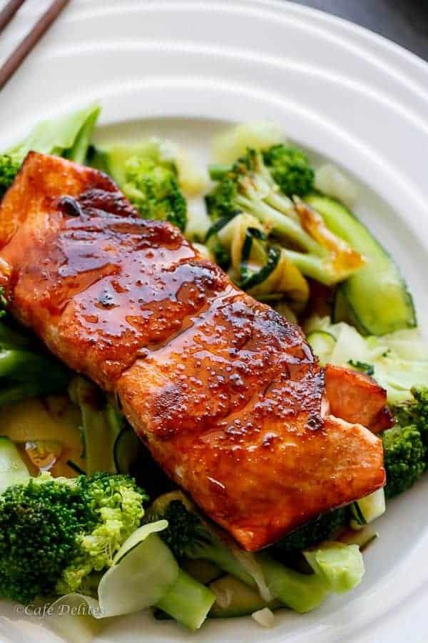 Teriyaki Glazed Salmon | http://cafedelites.com