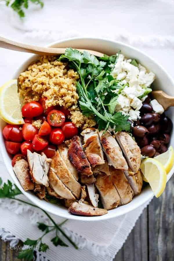 Balsamic Chicken Salad with Lemon Quinoa | https://cafedelites.com