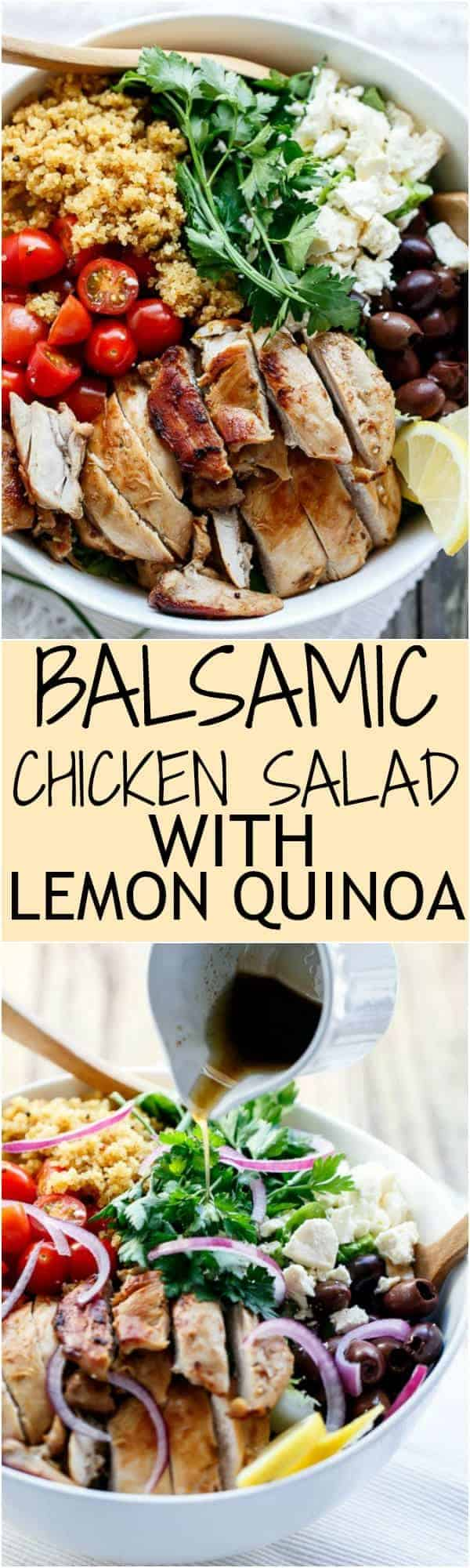 Balsamic Chicken Salad with Lemon Quinoa Collage | http://cafedelites.com