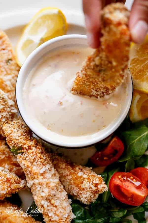 Garlic Chicken Strips with Sweet Chilli Mayo https://cafedelites.com
