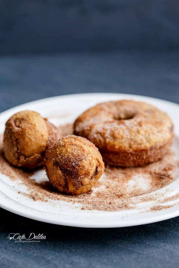 Nutella Stuffed Baked Banana Bread Donuts | https://cafedelites.com