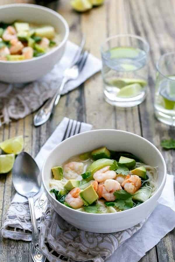 Thai Style Prawn (Shrimp) and Avocado Noodle Bowls